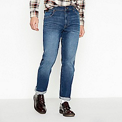 Wrangler - Big and tall dark blue mid wash 'Texas' straight fit jeans