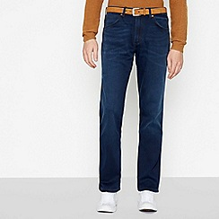 Wrangler - Dark Blue Mid Wash 'Greensboro Nightshift' Straight Fit Jeans