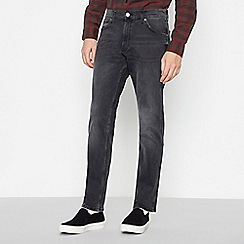 Wrangler - Grey Mid Wash 'Greensboro' Straight Fit Jeans