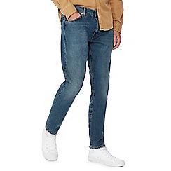 Wrangler - Blue mid wash selvedge 'Larston' slim tapered jeans