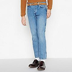 Wrangler - Light Blue Stone Wash 'Slider' Tapered Fit Jeans