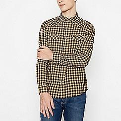 Wrangler - Camel Cotton Gingham Check Long Sleeve Regular Fit Western Shirt
