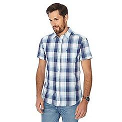Wrangler - Blue checked short sleeve regular fit shirt