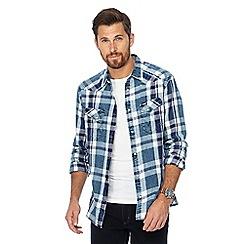 Wrangler - Blue checked regular fit western shirt
