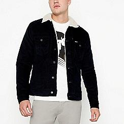 Wrangler - Navy corduroy sherpa lined jacket