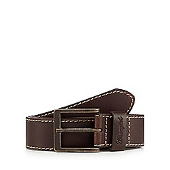 Wrangler - Big and tall brown contrast stitched leather belt