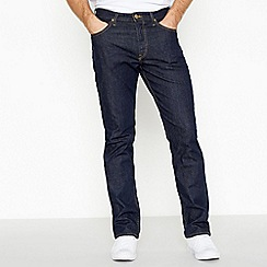Lee - Big and tall dark blue mid wash 'Brooklyn' straight fit jeans