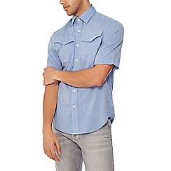 G-Star - Blue chambray short sleeves regular fit shirt