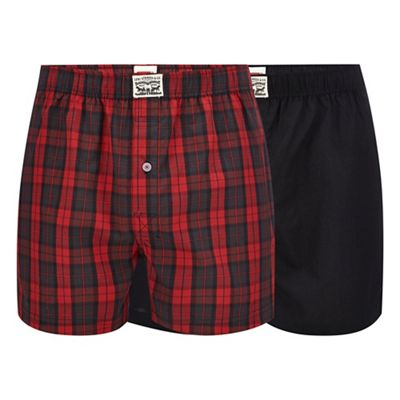 levi's 2 pack red plain and checked boxers