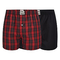 Levi's - 2 pack red plain and checked boxers