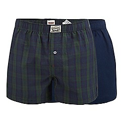 Levi's - 2 pack navy plain and checked boxers