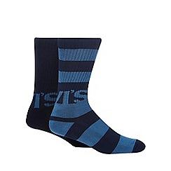 Levi's - 2 pack navy printed rugby socks