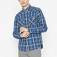Levi's - Dark Blue Checked 'Barstow' Long Sleeves Regular Fit Shirt