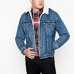 Levi's - Dark blue 'mayze sherpa trucker' denim jacket