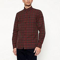 Wrangler - Brown checked long sleeve regular fit shirt