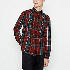 Wrangler - Brown Checked 'Western' Long Sleeve Regular Fit Shirt