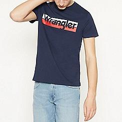 Wrangler - Navy Striped Logo Cotton T-Shirt