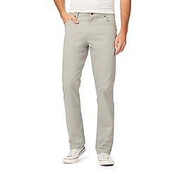 Wrangler - Light grey straight fit twill trousers