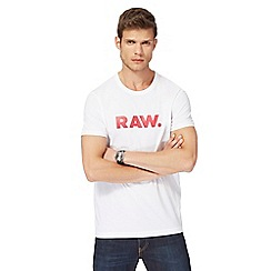 G-Star - White logo print t-shirt