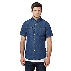 G-Star - Dark blue washed slim fit denim shirt