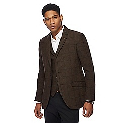 Racing Green - Big and tall grey wool blend windowpane check jacket