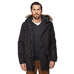Racing Green - Black faux fur trimmed hood parka coat