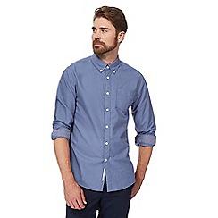 Racing Green - Blue plain long-sleeved Oxford shirt