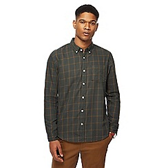 Racing Green - Big and tall green windowpane print tailored fit shirt