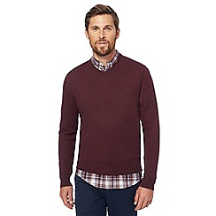 Racing Green - Big and tall wine red v-neck jumper