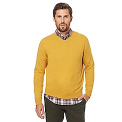 Racing Green - Big and tall dark yellow v-neck jumper