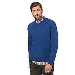 Racing Green - Big and tall dark blue v-neck jumper