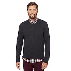 Racing Green - Big and tall dark grey v-neck jumper