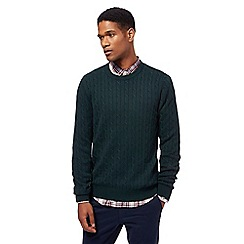 Racing Green - Big and tall dark green cable knit crew neck jumper