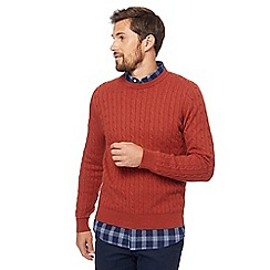 Racing Green - Big and tall orange cable knit jumper