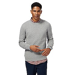 Racing Green - Big and tall grey cable knit jumper