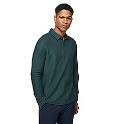 Racing Green - Big and tall dark green twill long sleeve polo shirt