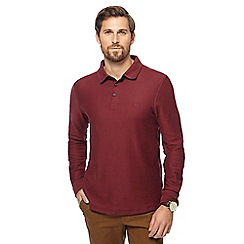 Racing Green - Dark red twill long sleeve polo shirt
