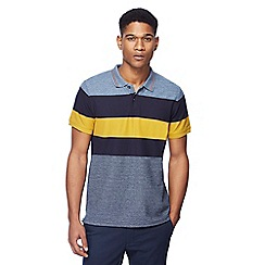 Racing Green - Big and tall mustard yellow grindle striped polo shirt