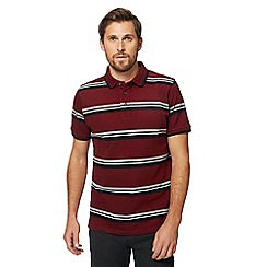 Racing Green - Dark red sporty stripe polo shirt