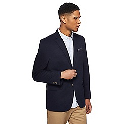 Racing Green - Big and tall navy pique blazer with pocket square