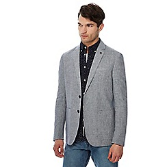 Racing Green - Big and tall grey linen puppytooth blazer