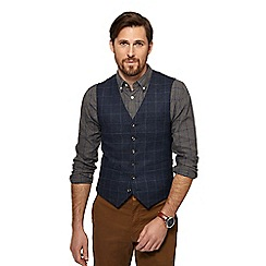 Racing Green - Big and tall navy windowpane check wool blend waistcoat