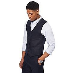 Racing Green - Big and tall navy linen waistcoat
