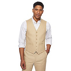 Racing Green - Big and tall natural linen waistcoat
