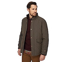 Racing Green - Big and tall khaki quilted jacket