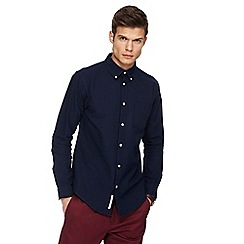 Racing Green - Navy Oxford tailored fit shirt