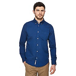 Racing Green - Big and tall dark blue oxford tailored fit shirt