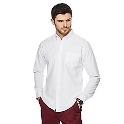 Racing Green - Big and tall white oxford tailored fit shirt