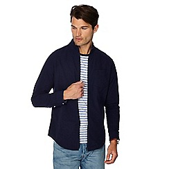 Racing Green - Big and tall navy seersucker funnel neck shirt jacket