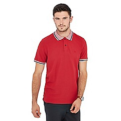 Racing Green - Red triple tipped collar cotton polo shirt